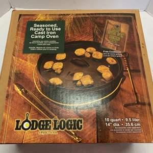 Lot #60 - Large Lodge Seasoned Cast Iron Camp Oven