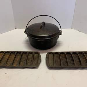 Lot #62 - Cast Iron Cornbread Pans and Cast Iron Covered Pot