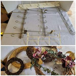 Lot #80 - Five Over the Door Hook Hangers and a Selection of Willow Wreaths