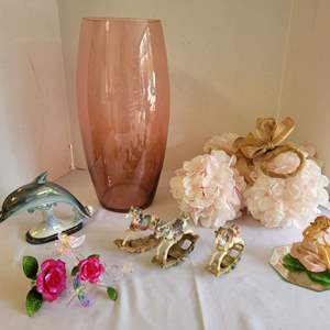 Lot #81 - Very Pretty Pink Large Vase and Other Decor