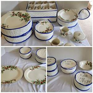 Lot #85 - Lynn's Fine China Service for 16 Holly Berries Pattern