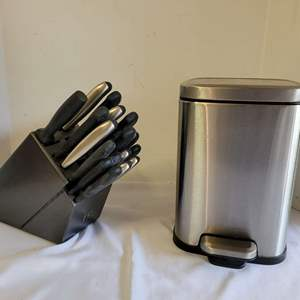 Lot #102 - J.A. Henckels 17 Pc. Knife Set & Block and Small Stainless Foot Pedal Trash Can