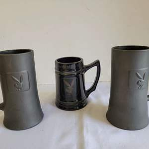 Lot #106 - Two Vintage Playboy Heavy Glass Beer Mugs Matte Finish & 1975 Playmate of the Year Mug