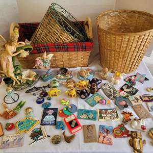 Lot #109 - Baskets, Fairies, Mini Teapots, Refrigerator Magnets and More