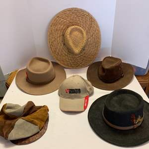 Lot #113 - Men's Hats: Leather from Austrialia, Fur Felt and More