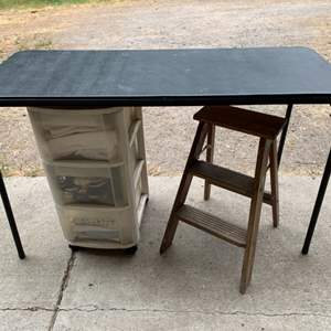 """Lot #116 - 48"""" Foldable Craft Table, Wood Step Stool and Storage Box with Contents"""