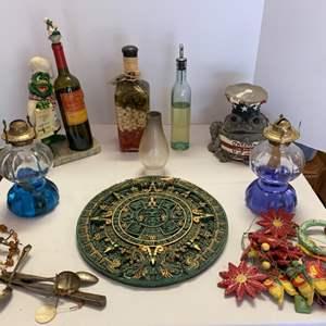 Lot #118 - Oil Lamps, Wind Chimes, Wall Decor, Decorative Kitchen Oils