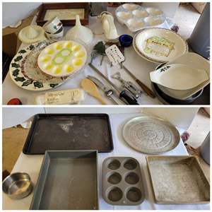 Lot #123 - Bake Ware, Egg Server, Muffin Baker, Serving Dishes, Utensils & More