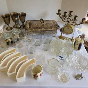 Lot #124 - Serving Pieces, Glassware, Candlesticks, Goblets, Clocks, Crystal Bell and More