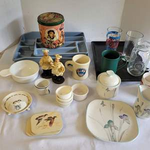 Lot #126 - Sango Quadrille Cream/Suger Set, Mugs, Tray, Recipe Booklets, Chef Figurines and More
