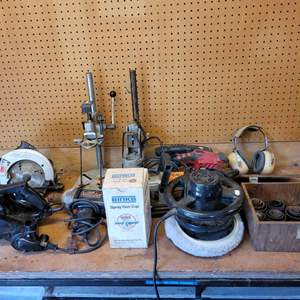 Lot #138 - Dustless Belt Sander, Skil Saw Circular Saw, Skil Belt Sander, Craftsman Drill Press and More
