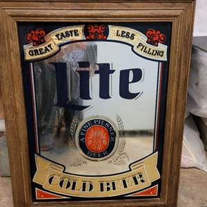 """Lot #153 - Framed Lite Cold Beer A Fine Pilsner Beer Mirrored Wall Display 22"""" x 28"""""""