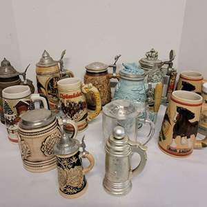 Lot #154 - Collection of Vintage Beer Steins From Avon, Anheuser-Busch, Coors