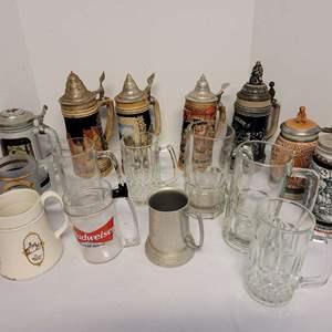 Lot #155 - Vintage Beer Steins and Mugs, Avon, Budweiser, Playboy