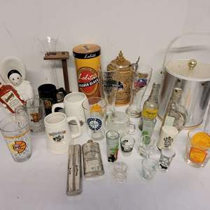 Lot #156 - Selection of Collectible  Shot Glasses, Drinking Glasses, Ice Bucket