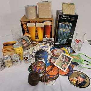 Lot #158 - Large Collection of Coasters, German Pilsner Set and More