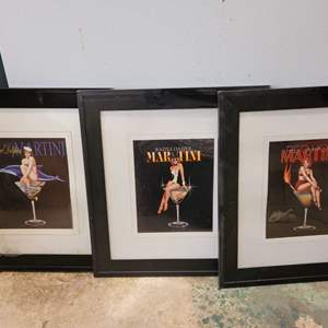 """Lot #159 - Fun Martini Framed and Matted Wall Decor 17"""" x 19"""""""