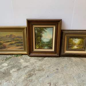 Lot #162 - Vintage Signed Oil on Canvas Paintings