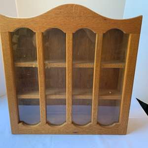 Lot #169 - Glass Front Wood Hanging Collectible Shelf