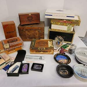Lot #170 - New Zippo Lighters, Cigar Boxes, Wood Box, Single Cigar Tins, Matches, Ashtrays