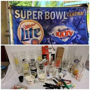 Lot #171 - Super Bowl XXXV Miller Lite Flag, Souvenir Beer Glasses, Bailey's Character Cups, Drink Sticks, Openers