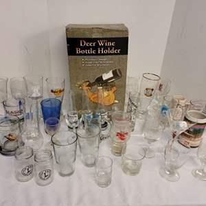 Lot #173 - Deer Wine Bottle Holder, Mariner's Inaugural Season 1999 Safeco Field Beer Glass, Hardrock Boston and More