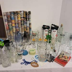Lot #174 - All Kinds of Beer and Glass Advertising Memorabilia, Miss Budwiser Blow-Up
