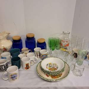 Lot #175 - Cobalt Canister Set, Pasta Dishes, Ceramic Pitcher Vintage Glassware and More