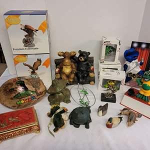 Lot #176 - RCA Victor Doggie (Ears broken), Porcelain Eagle Figurines, Frogs, Wildlife, Ducks,