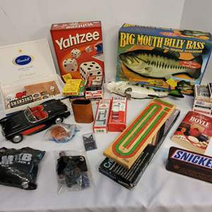 Lot #177 - Two Big Mouth Billy Bass, Games, Playing Cards, Cribbage, Durango '57 Chev and More