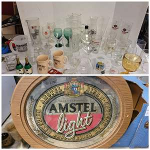 Lot #178 - Amstel Lite Mirrored Hanging Plaque, Mariners Beer Glass, Other Advertising Drinkware