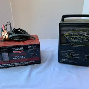 Lot #182 - Sears Engine Analyzer Model 244.21421 and Century 10/2/55 Battery Charger
