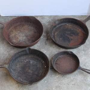 Lot #190 - Four Cast Iron Frying Pans