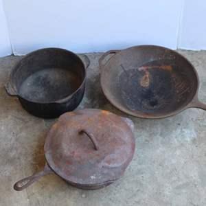 Lot #191 - Cast Iron Pot and Pans