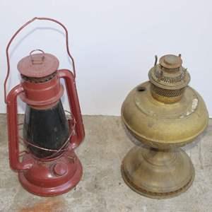 Lot #192 - Vintage Lantern and Brass Oil Lamp