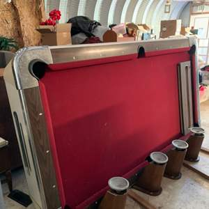 """Lot #195 - Vintage Valley Mfg.. Genuine Slate Playfield Pool Table Model # 33 with Cues and Balls, 93"""" x  52"""" x  32""""h"""