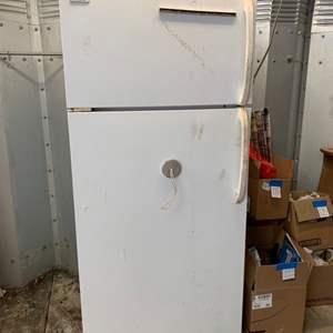 "Lot #196 - Frigidaire Upright Refrigerator and Freezer Model # MRT18NREW3 30"" x  27.5"" x  64.5"" h"