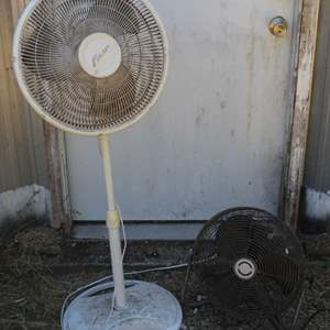 Lot #198 - Galaxy Floor Fan (Needs Cleaning) and No Name Table Fan