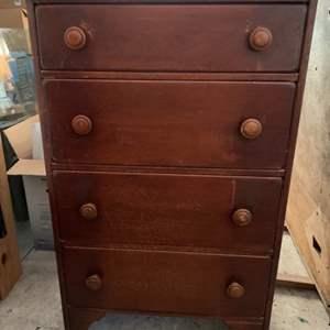 Lot #201 - Vintage 4-Drawer Highboy Dresser