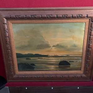 Lot #202 - Vintage Signed Oil on Canvas with Carved Wood Frame