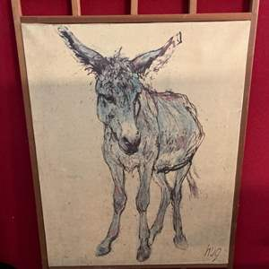 Lot #203 - Sweet Vintage Donkey Oil on Canvas, Signed HUG