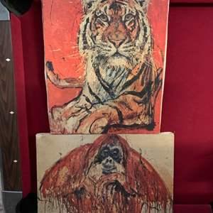 Lot #205 - Mid Century Animal Kingdom Oils on Canvas, Signed