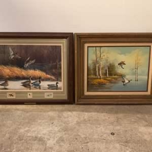 "Lot #208 - Two ""Shallow Pond Mallards"" by Maynard Reece, 1980's"