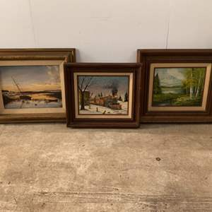 Lot #209 - Three Framed Vintage Wall Art, Two are Signed