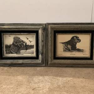 Lot #210 - Hunting Dog Etchings by Cliff Rossberg on Montana Marble