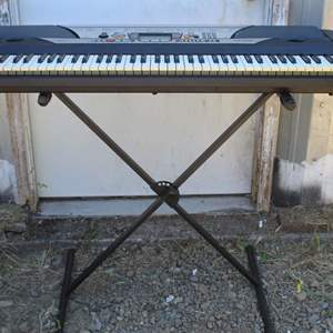 Lot #211 - Yamaha Digital Electronic Keyboard Piano Model # PSR-GX76 with Stand (Missing Cords)