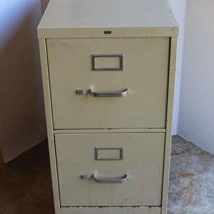 Lot #213 - Two Drawer HON Metal File Cabinet on Wheels