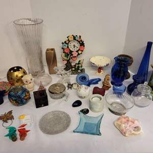 Lot #220 - All Kinds of Decor Items: Pitcher, Vases, Resin Clock,  Boxes and More