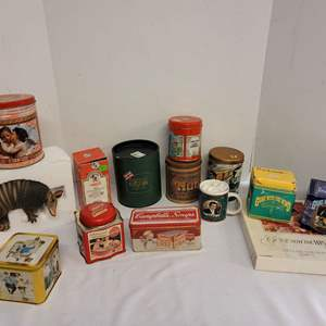 Lot #221 - Gone with the Wind Memorabilia, Armadillo Can Holder, Mickey Mouse Bell, Harmony Kingdom Horse Figurine, Tins