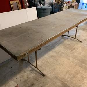 Lot #229 - Vintage Monroe Co. Wood & Metal Table, 8' Long